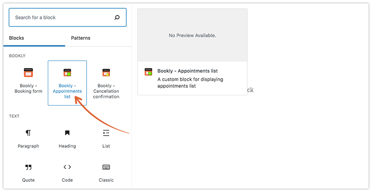 Option #2 – add Bookly appointments list