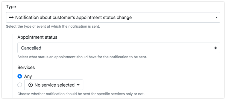 Notification about customer's appointment status change