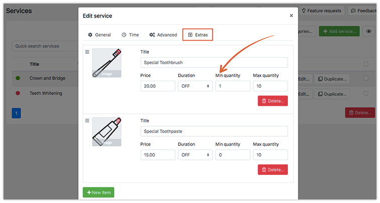 Ability to set min quantity for service extra