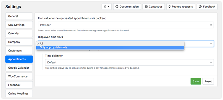 New settings for appointments created via backend