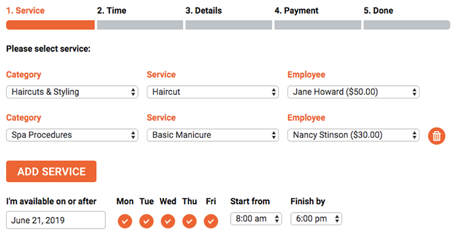 Allow customers to set several appointments using a single visit