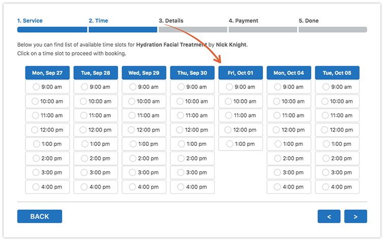Bookly PRO front-end booking form