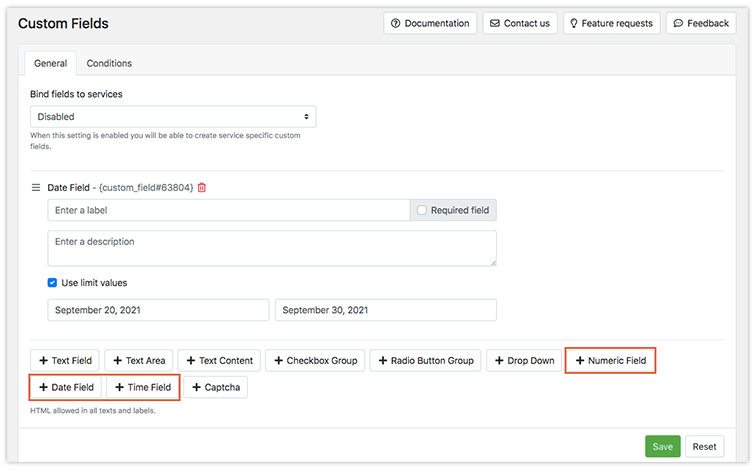 New types of custom fields in Bookly