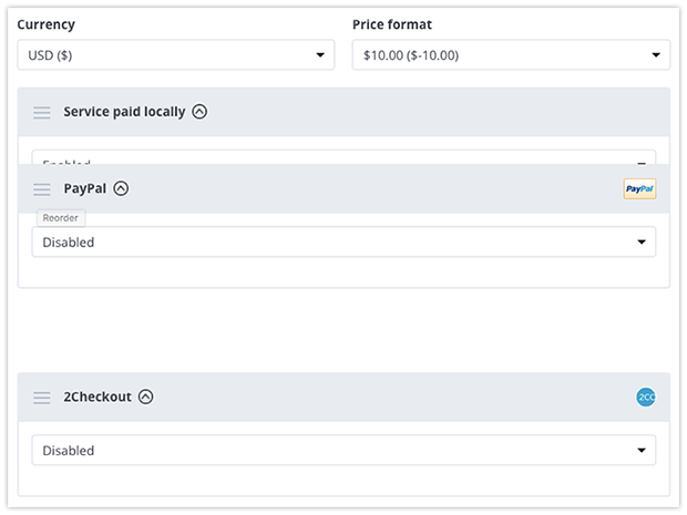 Reorder payment options in Bookly settings