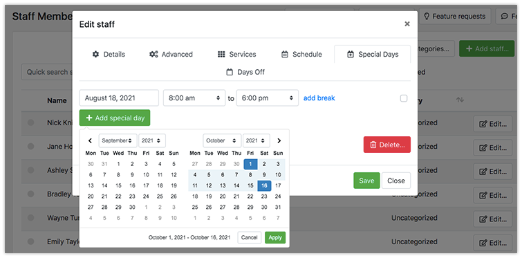 Ability to set a date range for special days