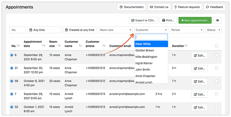 In the Customers field above the list of appointments, search for client name.