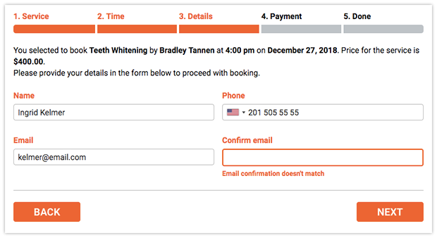 Email confirmation field in Bookly booking form