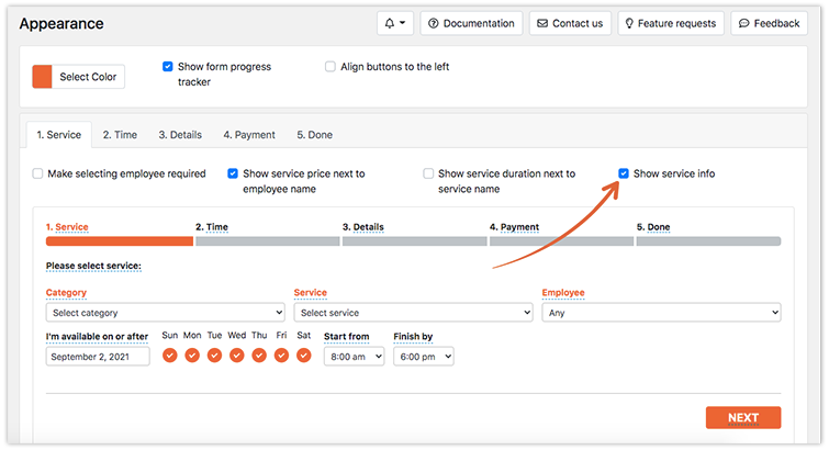 Bookly PRO Appearance – Show service info