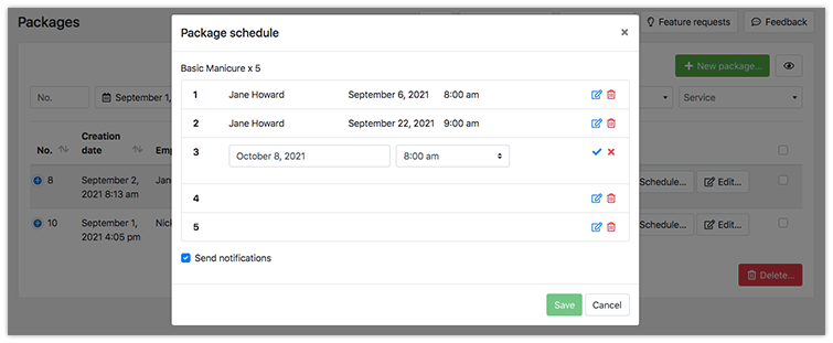 Schedule appointments in Bookly package
