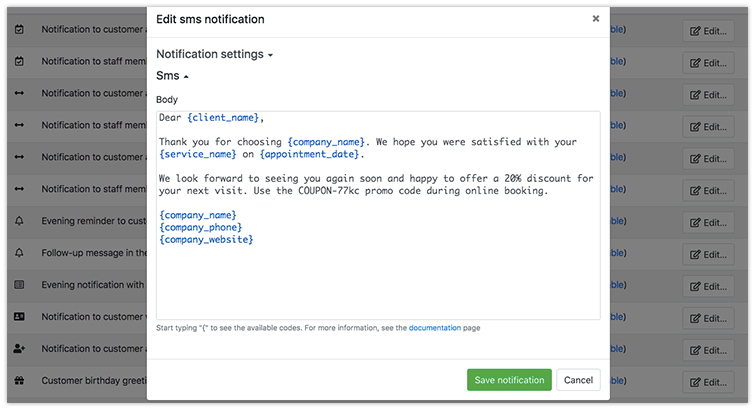 Bookly follow-up sms notification template