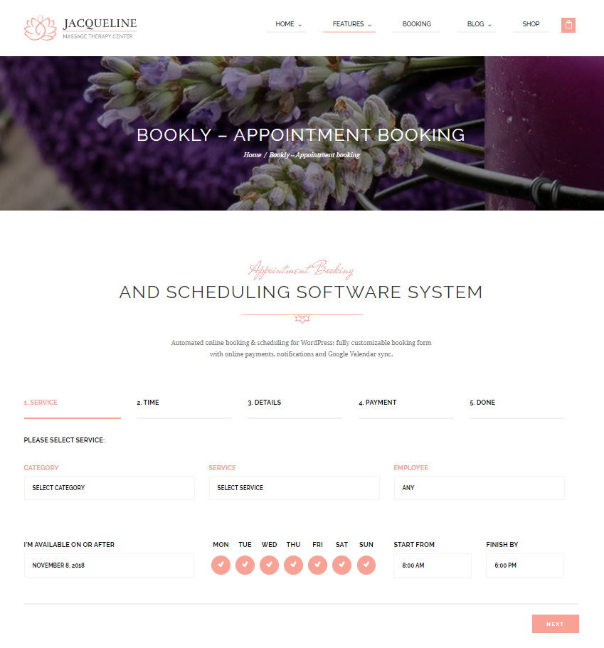 Bookly in Spa Salon WordPress Theme