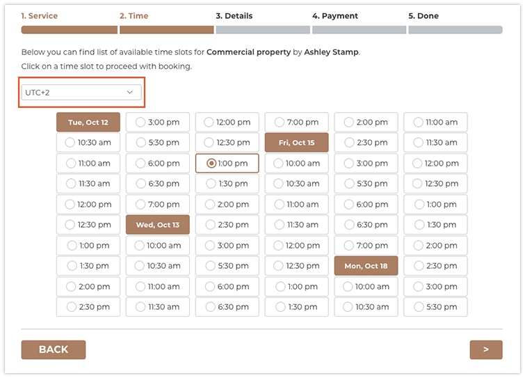 Your clients will be able to pick a time zone in Bookly booking form