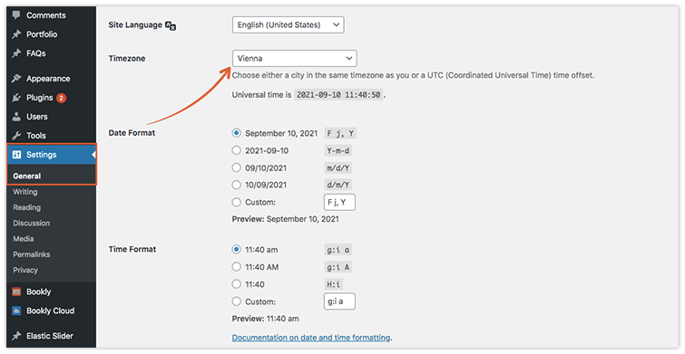 Set a correct default time zone for your website in your WordPress