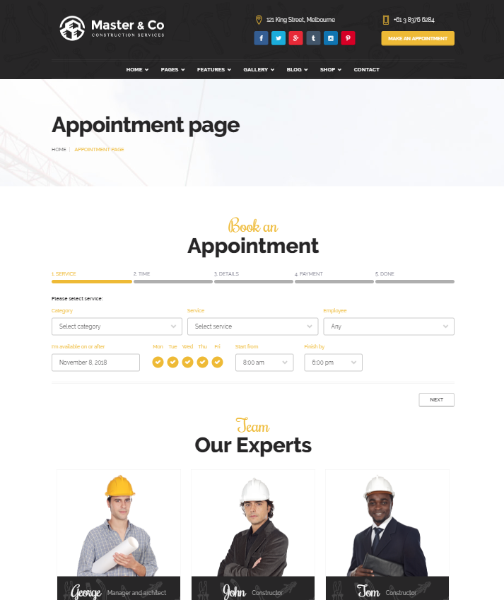 Monkeysan implemented Bookly for construction company template